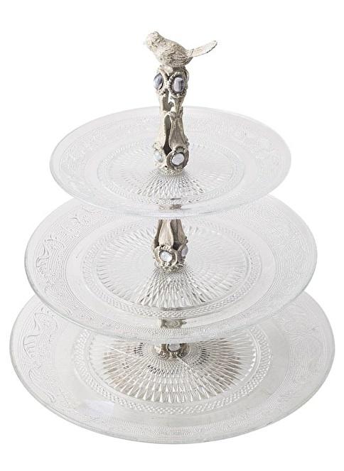 Warm Design Cam Metal Servis Standı Beyaz